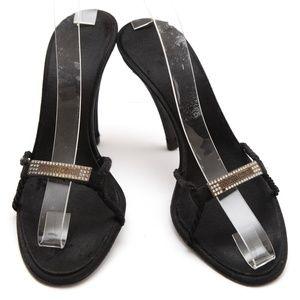 ROBERTO CAVALLI Black Sandal Slide Mule Satin 37.5